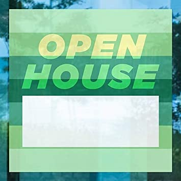 24x24 5-Pack Open House Modern Gradient Window Cling CGSignLab