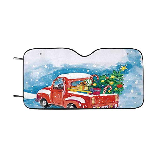 Christmas Durable Car Sunshade,Vintage Red Truck in Snowy Winter Scene with Tree and Gifts Candy Cane Kids for car,55