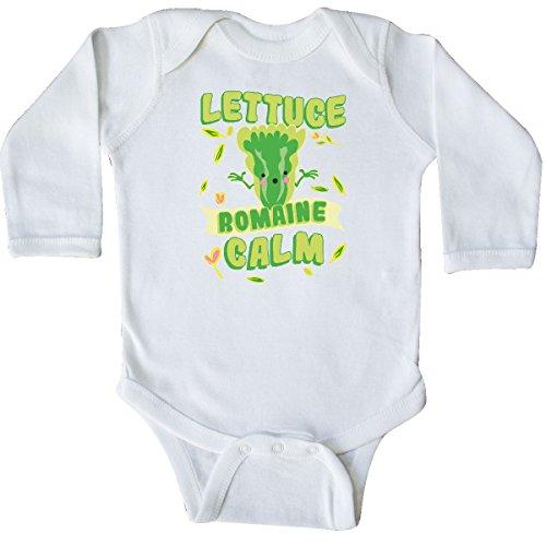 inktastic - Lettuce Romaine Calm Long Sleeve Creeper Newborn White ()