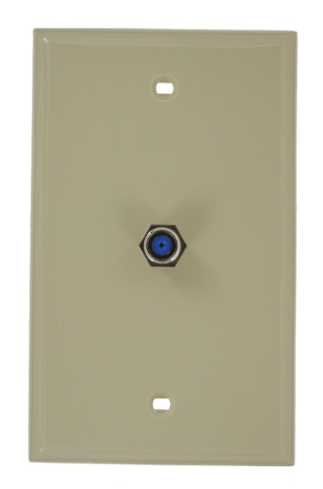 Leviton 80781-I Standard Video Wall Jack, F Connector, Ivory