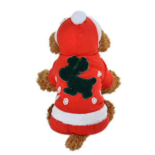 [Uniquorn Pet Christmas Clothes Red Festive Elk Four Feet Clothing Dog Warm And Comfortable Winter Teddy Poodle Winter] (Girls Festive Witch Costumes)