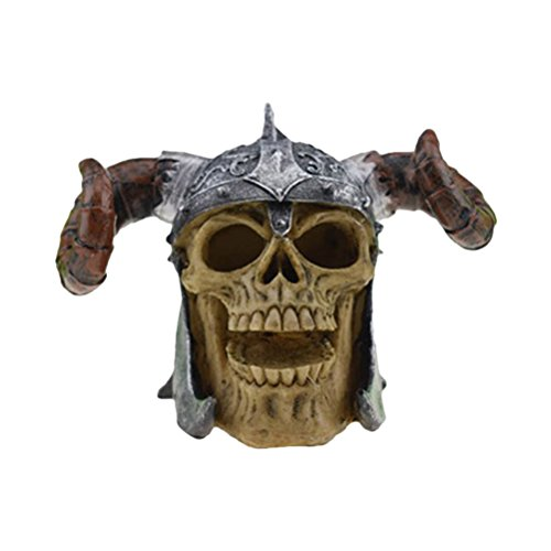 Halloween Skull Decor Horror Novelty Toy Comedy Spoof Human Prop Resin Skull Head Ornament (Stylish Horn Skull Head)