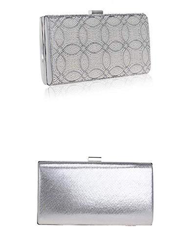 colore Moontang Silver borsa sera Holding Hand La Size Clutch da Silver Banquet Ladies qrUzRqwv