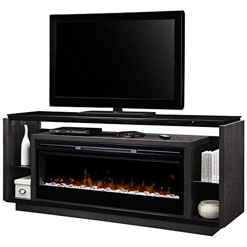 DIMPLEX Electric Fireplace, TV Stand, Media Console, Space Heater and Entertainment Center with Glass Ember Bed Set in Smoke Finish - David #GDS50G5-1592SM