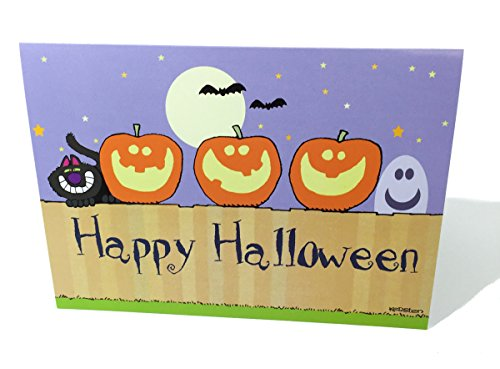 Happy Halloween Boxed Cards - Pumkins on a Fence Greeting Card - 18 Cards & 19 -