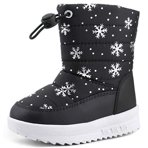 Femizee Toddler Girls Boys Winter Snow Boots Outdoor Waterproof Cold Weather Boots for Kids,SHO1949 Black CN28