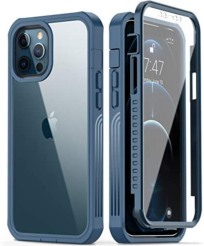 GOODON iPhone 12 Pro Max Case with Built-in Screen Protector,Pass 20 toes. Drop Test Military Grade Shockproof Clear Cover 360 Full Body Protective Phone Case for Apple iPhone 12 Pro Max Blue