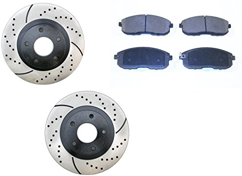 Prime Choice Auto Parts PERF41308815A Set of 2 Drilled and Slotted Brake Rotors and Performance Pads