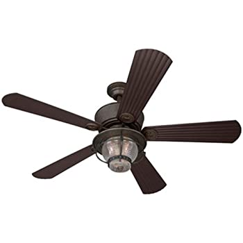 Merrimack 52 In Antique Bronze Downrod Mount Indoor/Outdoor Ceiling Fan  With Light Kit Part 35