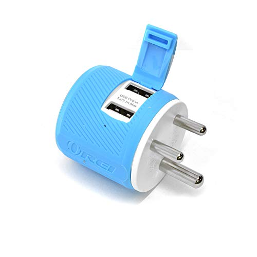 Orei India 2 USB Travel Charger for All iPhone, iPad, Samsung Galaxy, Android, HTC One, Motorola, LG