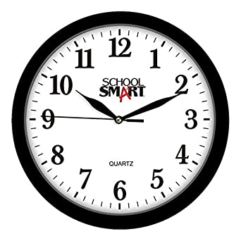 Amazon Com School Smart Silent Movement Wall Clock 13 Inches White Dial And Black Frame Ssg 0004 Industrial Scientific