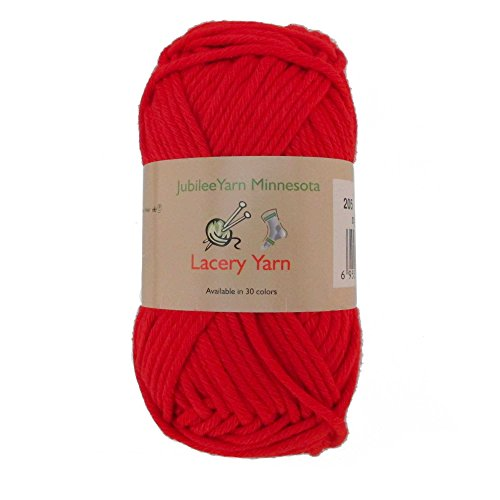 Yarn Bulky Pattern Hat - Bulky Weight Lacery Yarn 100g - 2 Skeins - 100% Cotton - Hearts Red - Color 205