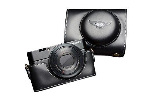 TP SONY ソニー DSC-RX100用本革レンズカバー付カメラケース ブラック B01K4QCSIQ レンズカバー付ケース&ストラップTP09