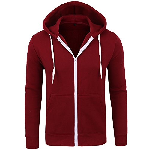 Manwan Walk Men's Cotton Full-Zip Fleece Hoodie EcoSmart Hoodie Sweatshirt