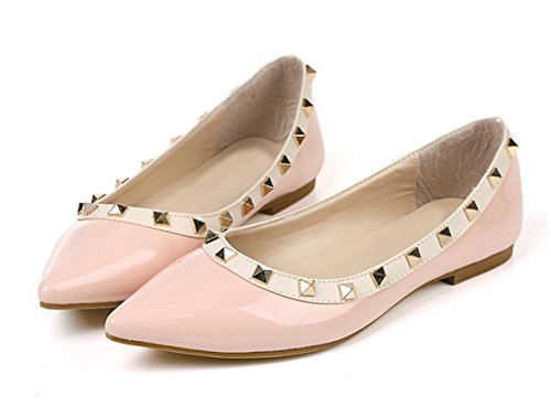 SexyPrey Women's Pointed Toe Flats Shoes Rivets Slip On Pumps Big Size Ballet Shoes Pink V4T0OmNhBc
