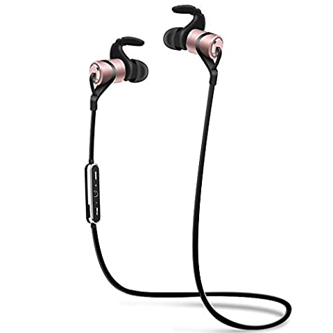 YELLYOUTH Original Wireless Headphones with Mic, IPX4 Sweatproof Sport Earphone, Magnetic In-Ear Earbuds with Noise Cancellation, Secure Fit Bluetooth Headset for Running, Workout and Gym (Rose (Bluetooth Tangle Free Headphones)