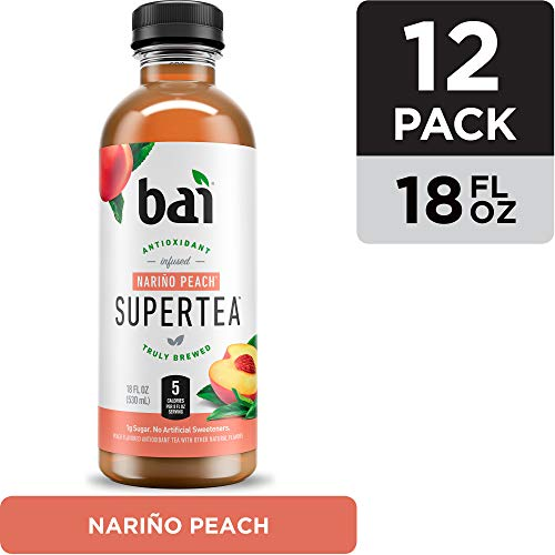 Bai Iced Tea, Narino Peach, Antioxidant Infused Supertea, Crafted with Real Tea (Black Tea, White Tea), 18 Fluid Ounce Bottles, 12 count (Best Bottled Teas To Drink)