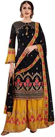 128e2aaff3 Black Yellow Indian Wedding Faux Georgette Sharara Palazzo suit for Women  with Heavy Embroidery Muslim dress