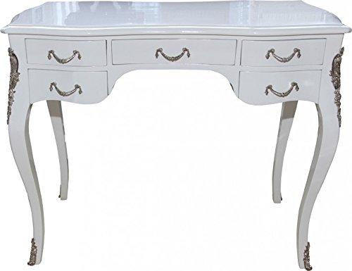 Casa Padrino Luxus Barock Schreibtisch Weiß Hochglanz Silber 100 X
