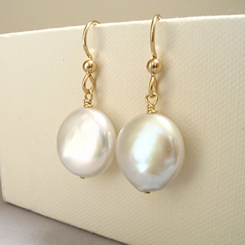 Cultured Freshwater Coin Pearl Large Dangle Earrings 14K Gold ()