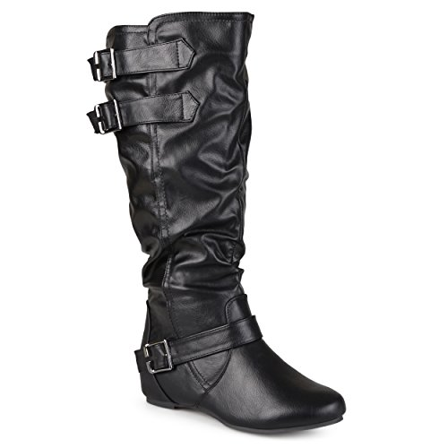 Journee Collection Womens Regular Sized, Wide-Calf and Extra Wide-Calf Buckle Slouch Low-Wedge Boots Black, 11 Extra Wide Calf US