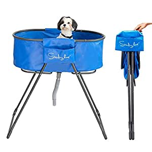 Standing Boat Foldable Pet Dog Bathing Tub Washing Station for Bathing Grooming Showering in bathtub Indoor/Outdoor folded in One- Second & Super Light -Perfect Size for Small Medium Dogs, Cats, and O