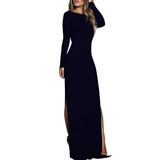 5eb709773 Formal Maxi Dress Womens Lace Stitching Backless Long Sleeve Mermaid Evening  Gown Party Dress Navy