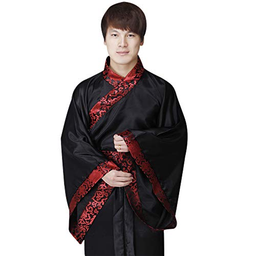 KINDOYO Chinese Style Costume - Adult Hanfu Ancient Chinese Classical Traditional Costume, Black(Men), US XL = Tag 2XL ()