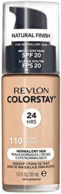 Revlon ColorStay Makeup for Normal/Dry Skin SPF 20, Longwear Liquid Foundation, with Medium-Full Coverage, Natural Finish, Oil Free, 110 Ivory, 1.0 oz
