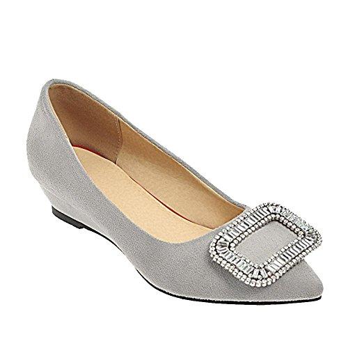 Carolbar Women's Chic Grace Diamante Mid Heel Wedge Pointed Toe Court Shoes Grey-3cm