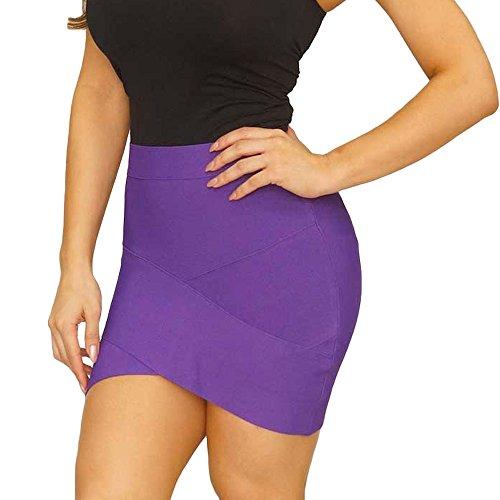 HLBandage Women Irregular Mini Bandage Skirt Morado