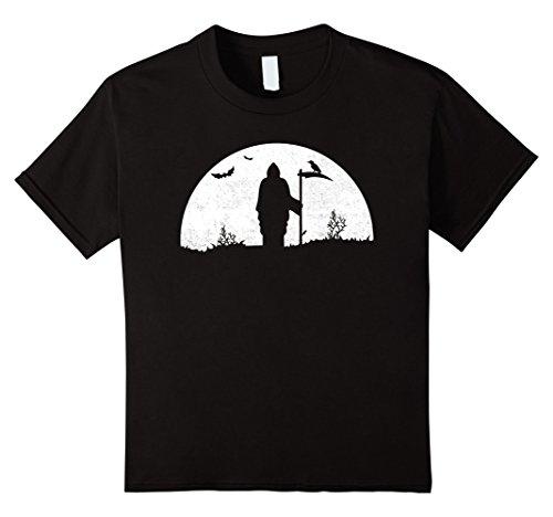 Kids Death Grim Reaper Halloween T Shirt Distressed Vintage Look 6 Black
