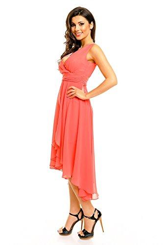 Lachs mit ärmelos Ausschnitt Kleid V HHS256 Chiffon Vokuhila Stil AZUqwxa