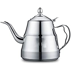 304 Stainless Steel Coffee pot - Lid-Type Anti-Scalding Handle -10 Cup - Home Electromagnetic Kettle Kettle Teapot -45.7 Ounces - Silver