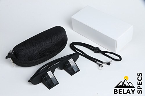 Belay Specs - Pro Belaying Glasses For Outdoor and Indoor Climbing High Transparency Light Weight Black Unisex Neck Strap Zipper Case by Belay Specs