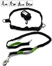 FurLeashUs Hands Free Leash for Running, Walking and Training, Bungee Dual Handle, Adjustable Waist, Poop Bag Dispenser