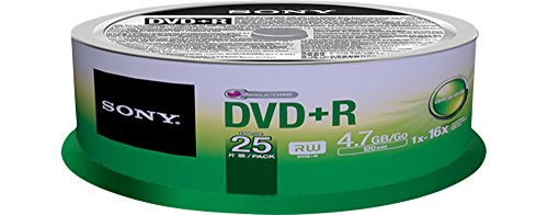 Sony 25DPR47SP 16x DVD+R 4.7GB Recordable DVD Media - 25 Pack Spindle by Sony (Image #1)