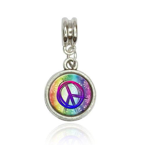 Peace Sign Flowers Rainbow Euro European Italian Style Bracelet Bead Charm (Bracelet Rainbow Italian Charm)
