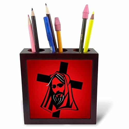 3dRose Sven Herkenrath Religion - Jesus Vector Graphic Black on Red Background - 5 inch Tile Pen Holder (ph_281667_1) by 3dRose