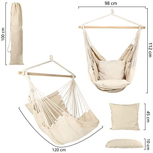 Caromy Hammock Chair Hanging Rope Swing Seat with Pillow and Carrying Bag Chair for Yard, Bedroom, Patio, Garden, Indoor, Outdoor White