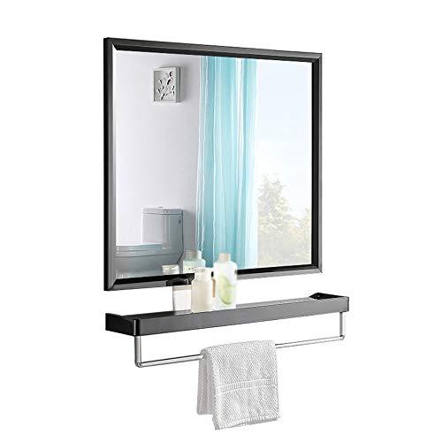 XIAODONG Espejo de baño montado en la Pared Espejo con repisa con toallero Espejo de Maquillaje Negro + Marco de Maquillaje...