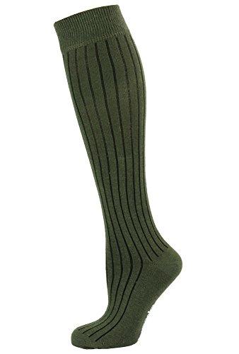 Ribbed Knee Sock - Mysocks Unisex Knee High Long Socks Khaki Ribbed