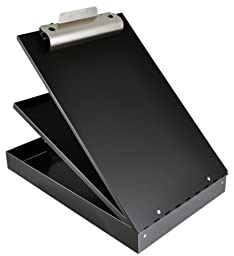 Saunders Recycled Aluminum Cruiser-Mate Storage Clipboard with Dual Tray Storage, Black, Letter Size, 8.5 x 12-Inches, One Clipboard (21117)