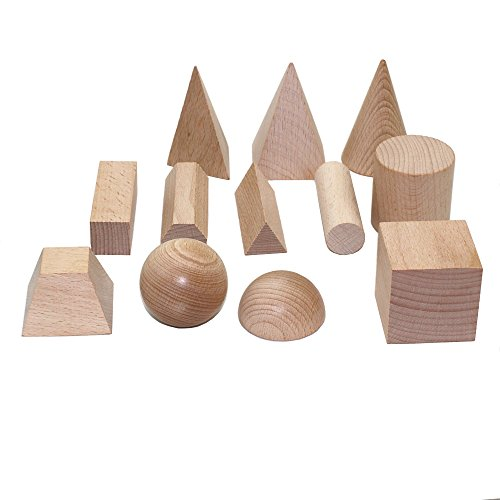 Selling Wonderful Unfinished Beech Wood Geometric 3-D Shape Blocks Wood Geometric Solids ,Educational Early Learning Cognitive Solid Geometry Toys for Kids(Set of 12)
