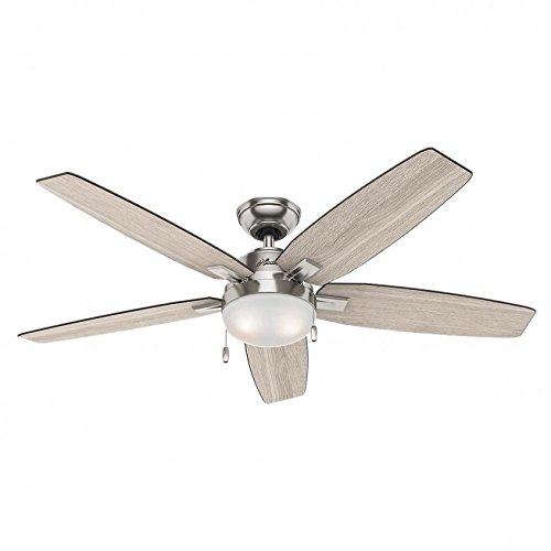 Hunter 59183 Antero 54 in LED Indoor Brushed Nickel Ceiling Fan with Light ()