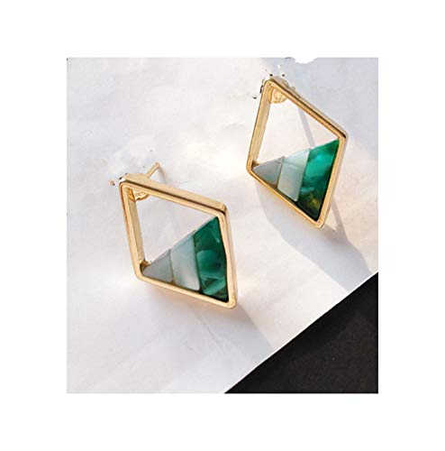 Contracted lozenge color contrast color female lady geometric hollow out the triangle stud earrings,02