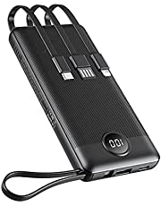 Portable Charger with Built-in Cables, Power Bank 10000mAh Ultra Slim,VEEKTOMX USB C Power Bank with 2 Inputs and 4 Outputs External Battery Pack Compatible with iPhone, iPad, Samsung Galaxy