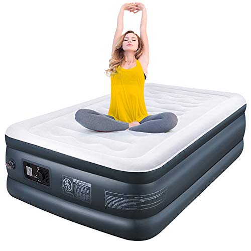 Camabel Twin Air Mattress with Built in Pump Luxury Raised Inflatable Mattress Blow Up Mattress Elevated Double High Airbed Flocked Top for Comfort with High Capacity Electric Pump, Bed Height 18