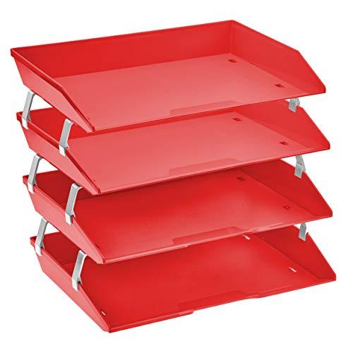 Acrimet Facility 4 Tier Letter Tray Plastic Desktop File Organizer (Solid Red Color) ()