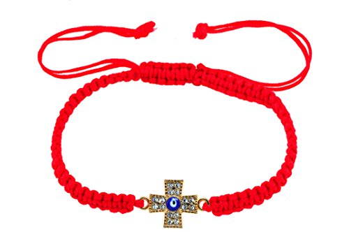 Mandala Crafts Kabbalah Amulet Lucky Knot Protection Rope Red String Bracelet (Cross Evil Eye)